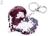 Prívesok na kabelku / kľúče srdce s meniacimi flitrami
