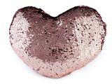 Dekoračný vankúš srdce s obojstrannými flitrami 30x40 cm