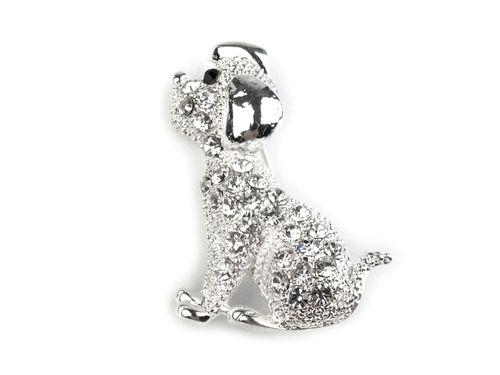 Brošňa psík s brúsenými kamienkami