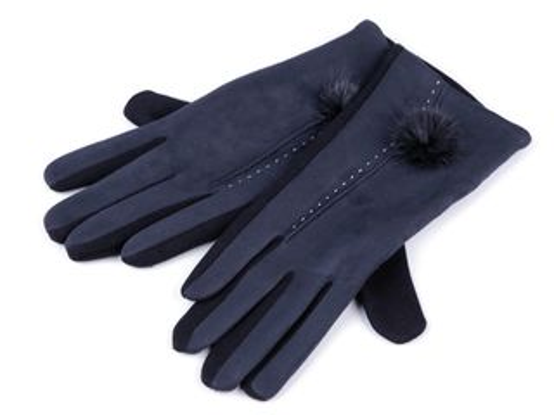 Dámske rukavice s kožušinovým brmbolcom