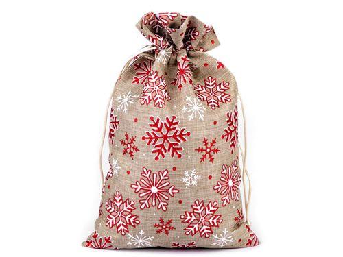 Darčekové vianočné / mikulášske vrecúško vločky s glitrami 21,5x31,5 cm imitácia juty