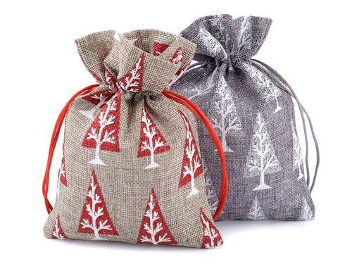 Darčekové vianočné vrecko 13x18 cm imitácia juty