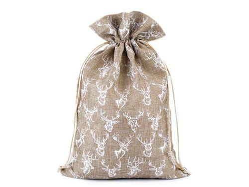 Darčekové vrecko jeleň s glitrami 20x30 cm imitácia juty