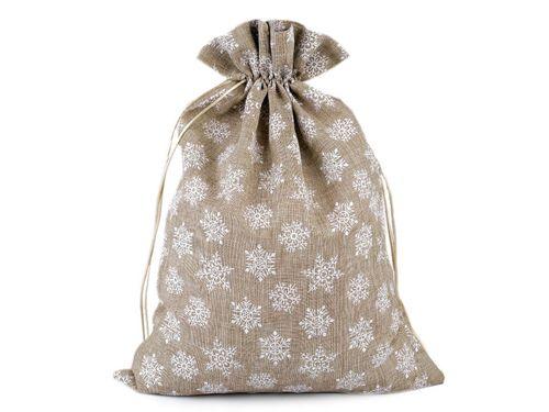 Darčekové vrecko vločky s glitrami 30x40 cm imitácia juty
