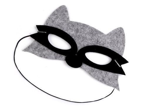 Detská karnevalová maska - škraboška filcová zvieratká