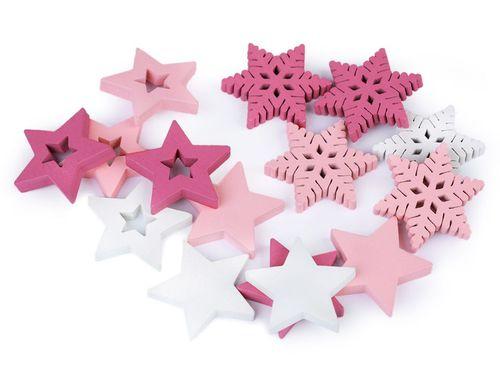 Drevená dekorácia hviezda, vločka Ø30 mm