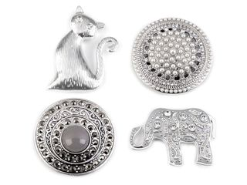 Magnetická brošňa mačka, slon, mandala