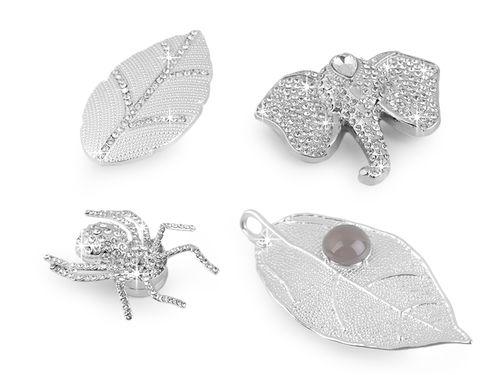 Magnetická brošňa slon, pavúk, list, s brúsenými kamienkami