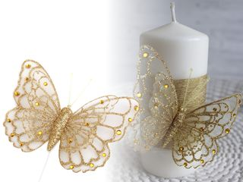 Motýľ na drôtiku s glitrami