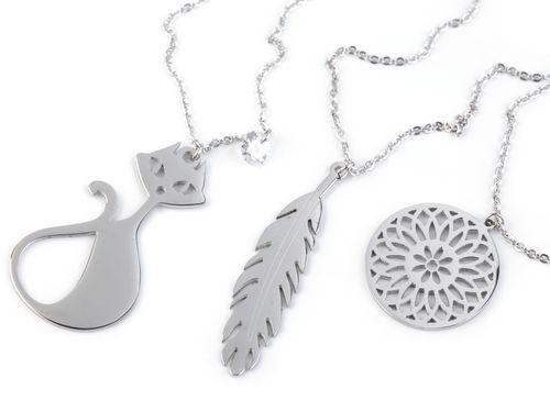 Náhrdelník mačka, pierko, mandala z nerezovej ocele