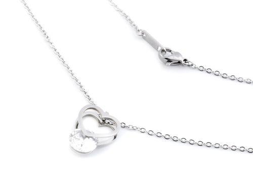 Náhrdelník srdce s kamienkom z nerezovej ocele