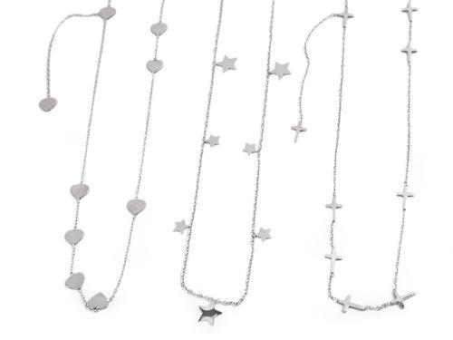 Náhrdelník z nerezovej ocele srdce, hviezda, krížik