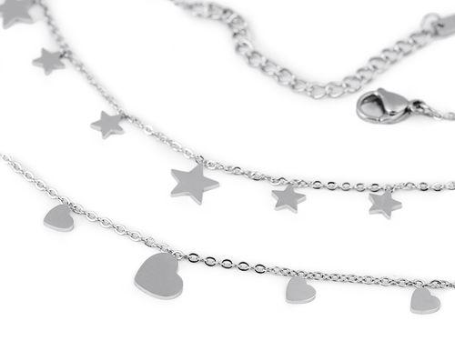 Náramok z nerezovej ocele srdce, hviezdy