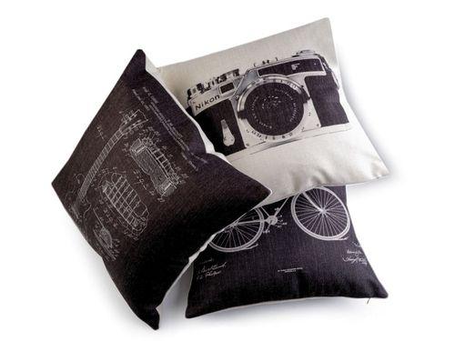 Obliečka na vankúš retro - gytara, fotoaparát, bicykel 43x43 cm