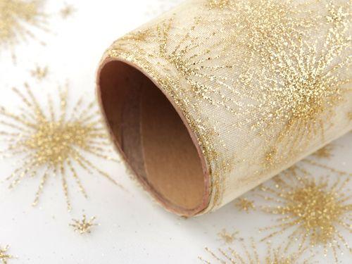 Organza vianočná s glitrami šírka 36 cm