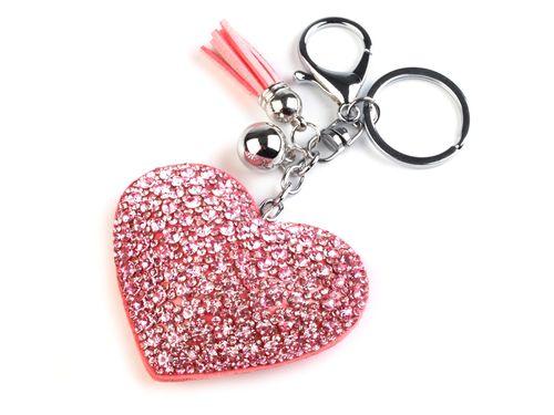 Prívesok na kabelku / kľúče srdce