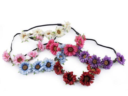 Pružná čelenka do vlasov s kvetmi