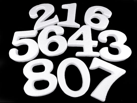 3D číslice výška 14 cm polystyrén