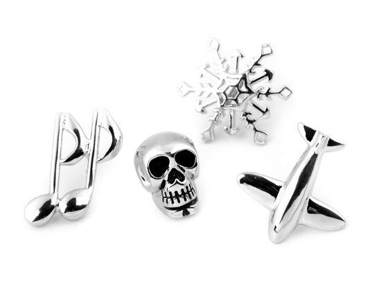 Brošňa / odznak na chlopňu vločka, lebka, noty, lietadlo