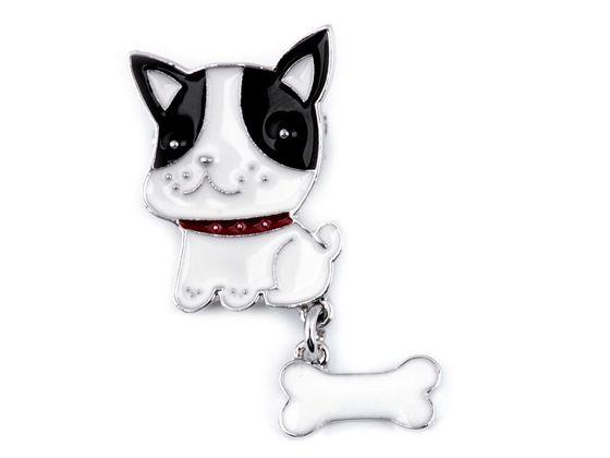 Brošňa psík s kosťou