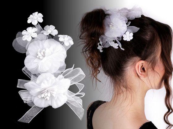 Brošňa / svadobná ozdoba do vlasov kvety