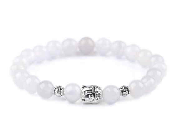 Buddha náramok achát biely, dámsky