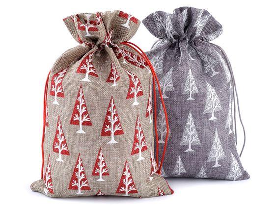 Darčekové vianočné / mikulášske vrecko 20x30 cm imitace juty