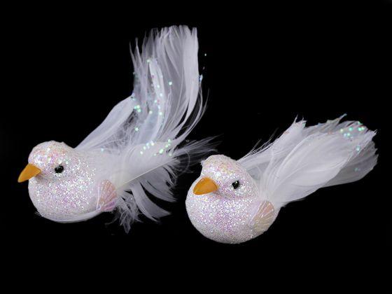 Dekorácia vtáčik / holubica s glitrami