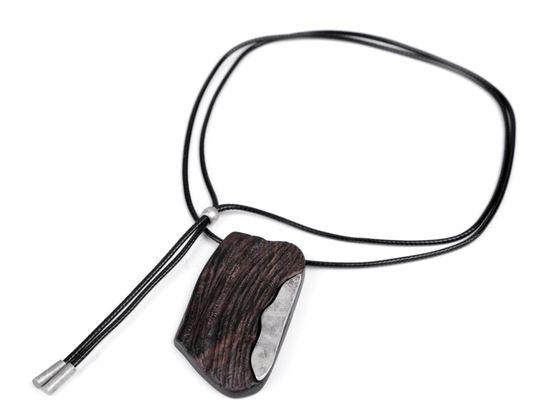 Dlhý drevený dizajnový náhrdelník