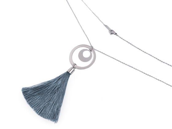 Dlhý náhrdelník z nerezovej ocele so strapcom