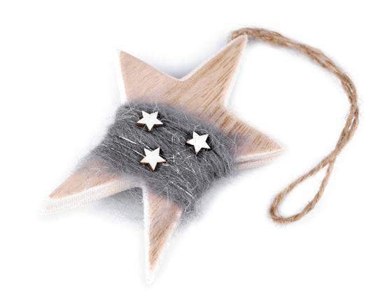 Drevená hviezda na zavesenie 7x10,5 cm