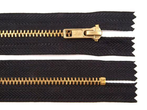Kovový  /  mosadzný zips šírka 4 mm dĺžka 14 cm nohavicový