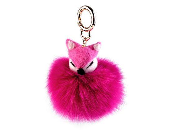 Kožušinový prívesok na kabelku / kľúče líška
