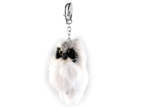 Kožušinový prívesok na kabelku / kľúče sova