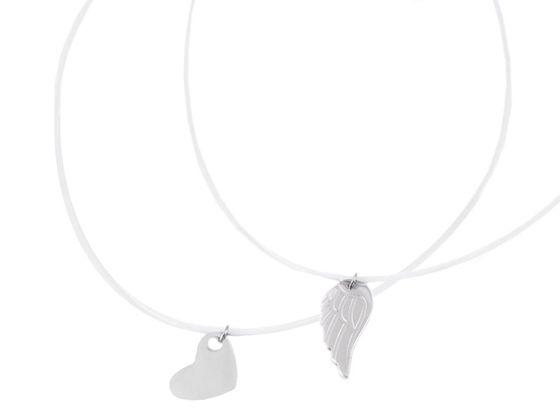 Náhrdelník s príveskom z nerezovej ocele krídlo, srdce