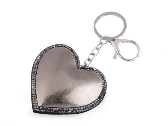 Prívesok na kabelku / kľúče srdce metalický