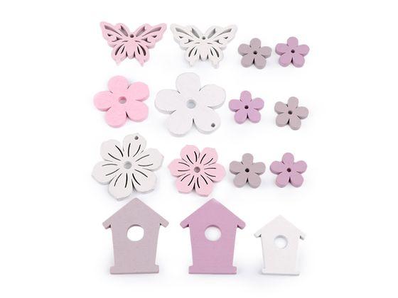 Sada - drevená dekorácia kvet, motýľ, búdka