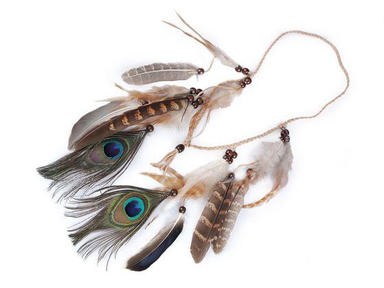 Spletená čelenka do vlasov / náhrdelník s perím a korálikmi