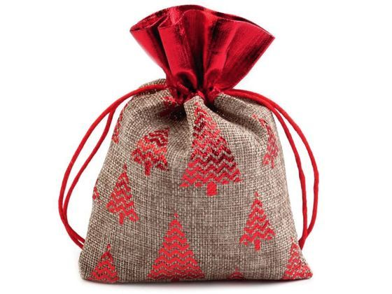 Vianočná darčekové vrecko 13x18 cm imitácia juty