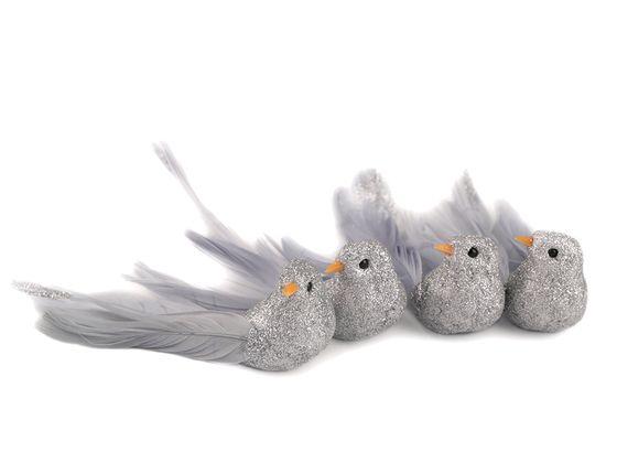 Vianočná dekorácia vtáčik s glitrami 2. akosť