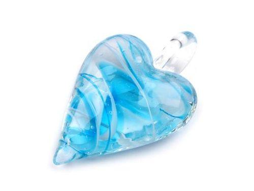 Sklenený prívesok srdce 30x45 mm
